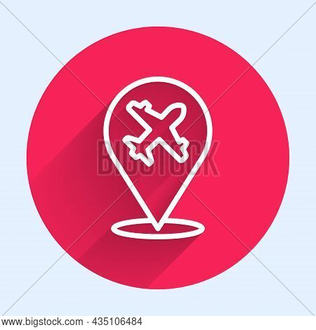 White Line Plane Icon Isolated With Long Shadow. Flying Airplane Icon. Airliner Sign. Red Circle But