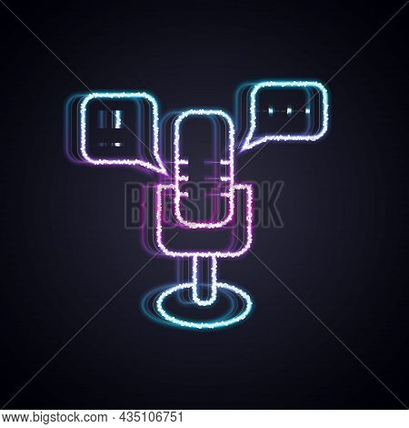Glowing Neon Line Freedom Of Speech Icon Isolated On Black Background. Freedom Of Expression. Vector