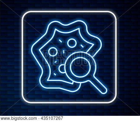 Glowing Neon Line Microorganisms Under Magnifier Icon Isolated On Brick Wall Background. Bacteria An