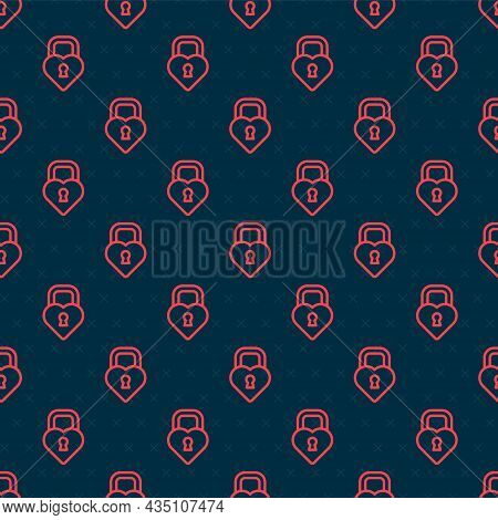 Red Line Castle In The Shape Of A Heart Icon Isolated Seamless Pattern On Black Background. Locked H