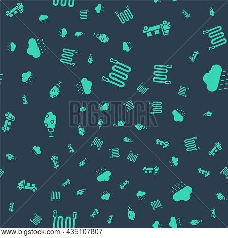 Set Garden Hose, Pickup Truck, Tree With Apple And Cloud Rain On Seamless Pattern. Vector