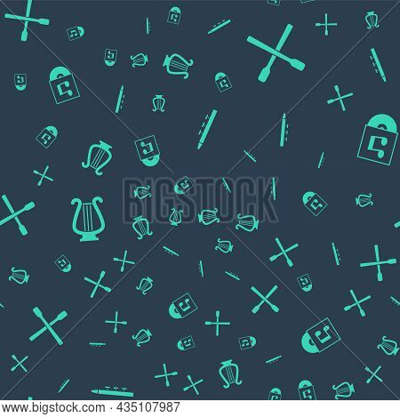 Set Drum And Drum Sticks, , Ancient Lyre And Vinyl Disk On Seamless Pattern. Vector