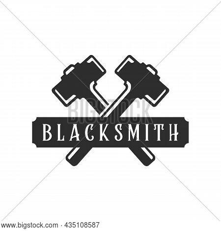 Blacksmith Hammer Logo Vintage Vector Logo Illustration Template Icon Design. Welding And Forge Serv
