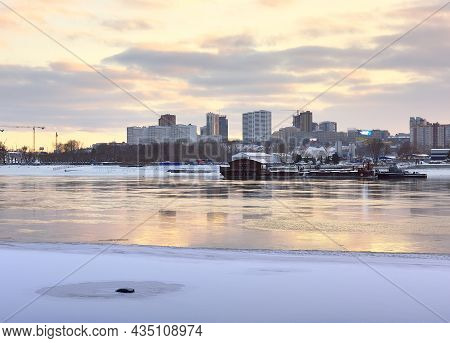 Embankment Of The River Ob In Novosibirsk. Winter Evening Over The