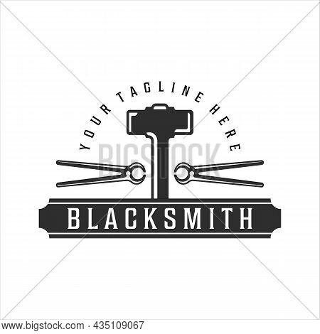 Blacksmith Hammer Tongs Logo Vintage Vector Illustration Template Icon Design. Welding And Forge Ser