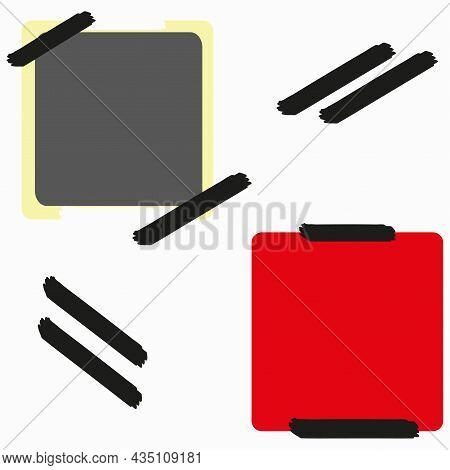 Colored Photo Frame Icon. Black Wall Sticker. Vintage Empty Snapshot. Modern Style. Vector Illustrat