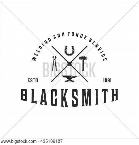 Blacksmith Hammer Anvil Tongs Horseshoe Logo Vintage Vector Illustration Template Icon Design. Weldi