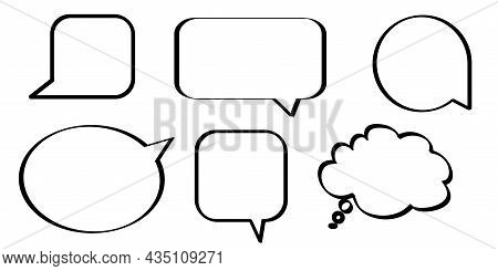 Collection Of Dialogue Icons. Silhouette Frame. Comic Message Sign. Freehand Art. Vector Illustratio