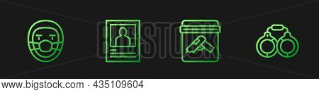 Set Line Evidence Bag With Gun, Doctor Pathologist, Wanted Poster And Handcuffs. Gradient Color Icon