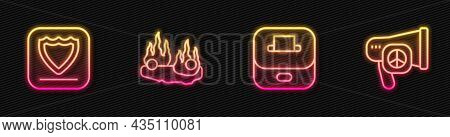 Set Line Vote Box, Shield, Burning Car And Peace. Glowing Neon Icon. Vector