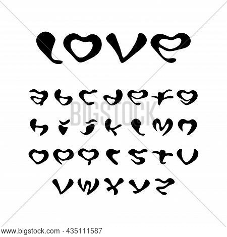 Vector Alphabet Font With Ugly Shapes. Set Of English Letters In The Shape Of A Heart. Abc For Encry
