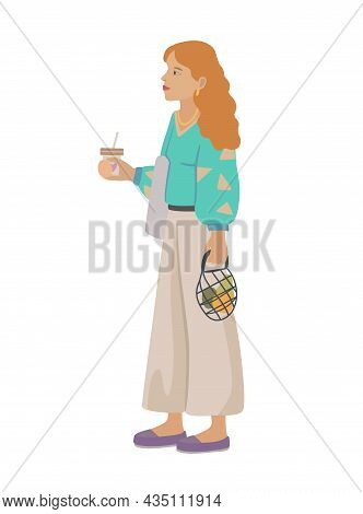 Young Beautiful Red-haired Girl With Paper Cup Of Coffee And Eco-friendly String Shopping Bag With F