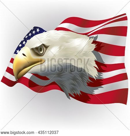 Background With Bald Eagle Head Over A Wavy American Flag - Colored Illustration On Light-gray Backg