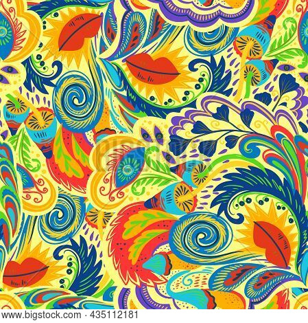 Colorful Seamless Pattern With Crazy Psychedelic Organic Abstract Elements, Print With Plant And Mus