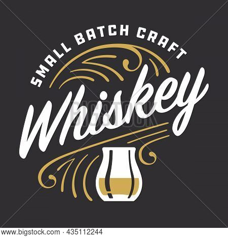 Small Batch Craft Whiskey Custom Lettering With Pinstripe Details. Vector Illustration Of Retro Orna