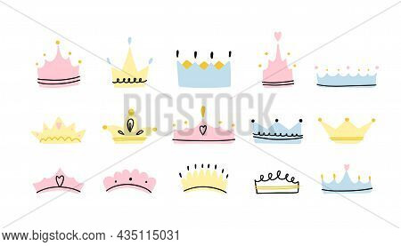 Crown Set. Hand Drawn King And Queen, Prince And Princess Head Accessory, Cartoon Cute Kids Print Or