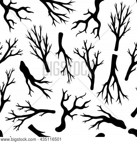 Dry Leafless Branches Seamless Vector Pattern. Hand-drawn Doodles. Silhouettes Of Bare Twigs. Monoch