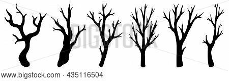 Dry Leafless Branches Vector Set. Hand-drawn Doodles. Silhouettes Of Bare Twigs. A Set Of Monochrome