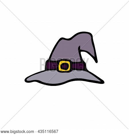 Doodle Gray Witch Hat. Hand-drawn Detail Of Masquerade Festive Costume Isolated On White Background.