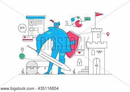 Strong Bank Guard Vector Illustration. Man Protector With Sword And Armor Flat Style. Finance Storag