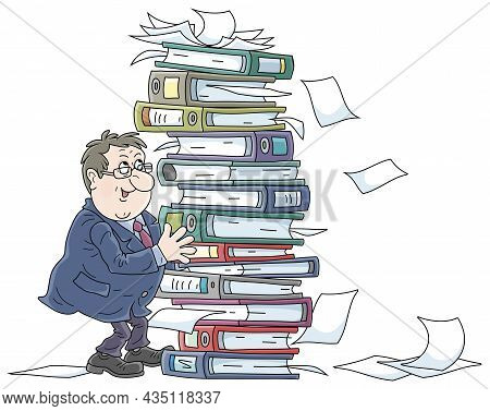 Fat Clerk At His Office With A Big Stack Of Folders With Documents, Vector Cartoon Illustration On A