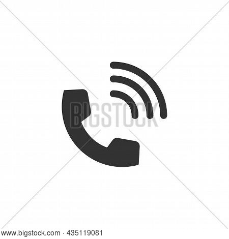 Handset Related Glyph Vector Icon. Contact Us. Telephone, Communication. Vector Illustration. Phone