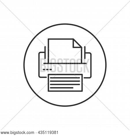 Printer Or Fax Related Line Icon. Editable Stroke Web Symbol. Office Equipment Vector Illustration.