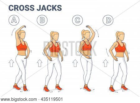 Cross Jacks Home Workout Exercise Guide Illustration. Girl Working On Her Muscles Colorful Concept.