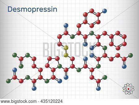 Desmopressin, Desmopresina, Desmopressinum Molecule. It Is Antidiuretic Peptide Drug, Synthetic Anal
