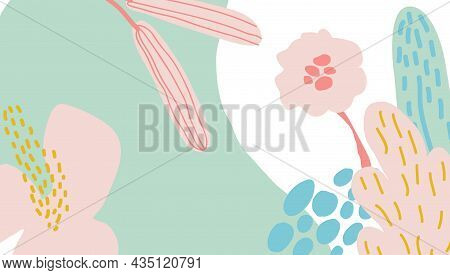 Flower Gorizontal Poster. Abstract Background With Hand Drawn Floral Shapes Elements And Doodle Obje