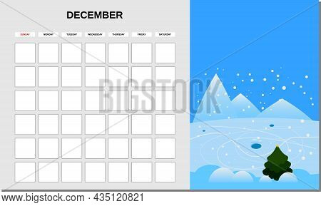 Calendar Planner December Month. Minimalistic Landscape Natural Backgrounds Winter. Monthly Template