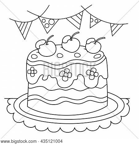 Coloring Page Outline Of Holiday Cake. Food And Sweetness. Coloring Book For Kids