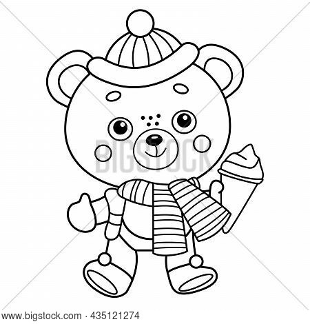 Coloring Page Outline Of Little Toy Bear With Ice Cream. Winter. Coloring Book For Kids