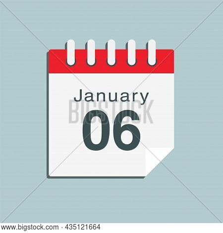 Icon Day Date 6 January, Template Calendar Page