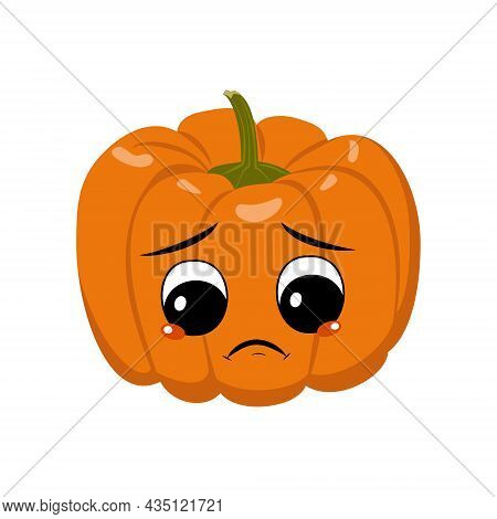 Cute Pumpkin Character With Sad Emotions, Depressed Face, Down Eyes. Festive Decoration For Hallowee