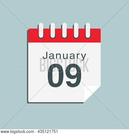 Icon Day Date 9 January, Template Calendar Page