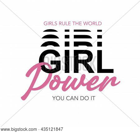 Girl Power Pink Text Vector Illustration Design For Fashion Graphics, T Shirt Prints, Posters, Stick