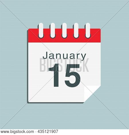 Icon Day Date 15 January, Template Calendar Page
