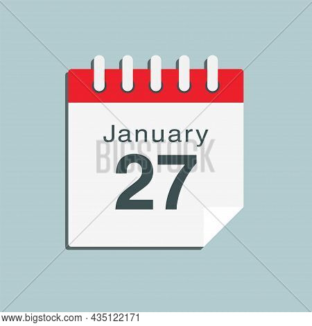 Icon Day Date 27 January, Template Calendar Page