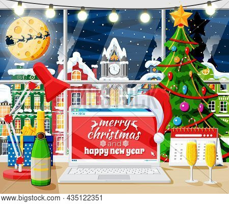 Christmas And New Year Office Desk Workspace Interior. Gift Box, Christmas Tree, Laptop, Lamp, Champ