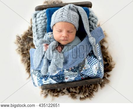 Adorable newborn baby boy swaddled in fabric and wearing cute knitted hat sleeping in wooden stylized bed and holding bunny toy in tiny hands. Infant child napping indoors