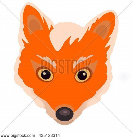 Cute Red Fox Face With White Bangs. Fox Head Emoji Isolated On White Background. Animal Head Cartoon