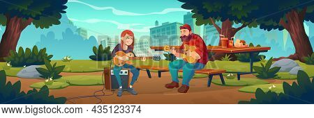 People Play Music In City Park. Musicians With Acoustic And Electric Guitars Perform Outdoor. Vector
