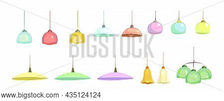 Set Lamp Isolated On White Background. Plafonds For The Interior Of Residential Buildings, Offices A