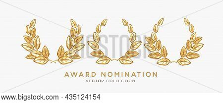Set Of 3d Realistic Gold Laurel Wreath Winner Award Nominations Isolated On White Background. Award,
