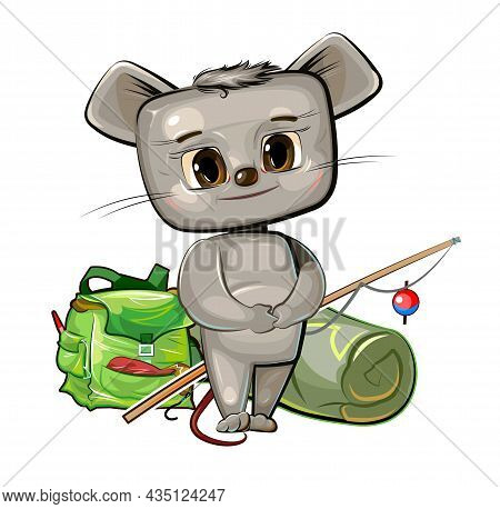 Funny Cute Baby Mouse. He Asks To Take Him Fishing. Backpack M Fishing Rod. Naive Animal Child. Cart