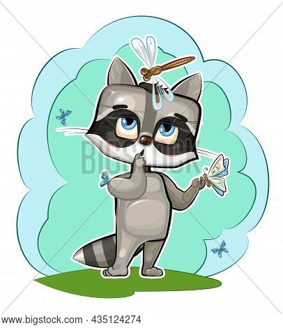 Baby Raccoon Loves Butterflies. Characters Of Child Stand. Funny Dragonfly. A Young Animal. Cute Car