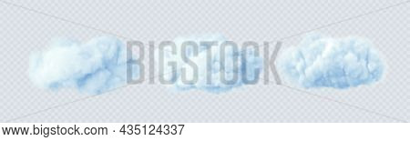 Blue Clouds Isolated On A Transparent Background. 3d Realistic Set Of Clouds. Real Transparent Effec
