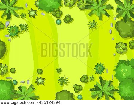 Hilly Lawn In The Forest. View From Above. Countryside Rural Landscape. Green Foliage Of Trees And S