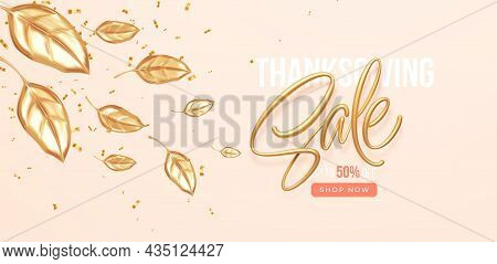 Thanksgiving Or Fall Discount Sale Banner With Falling Gold Leaves. Autumn Sale Backdrop With Golden